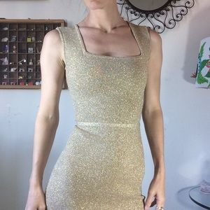 BCBGMaxAzria Dresses - Gold ✨ Sparkle Holiday BodyCon Mini Dress
